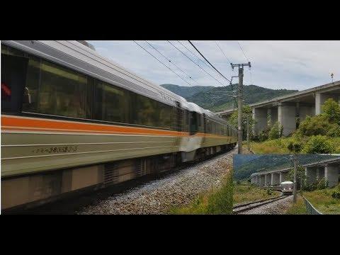 【JR Shinonoi line/Central west line  Limited express wide view Shinano 383】篠ノ井線 桑ノ原信号所 姨捨駅通過