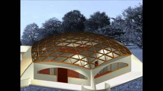 A 6-frequency Icosahedral Dome Roof Setting On A Pentagonal Base Structure