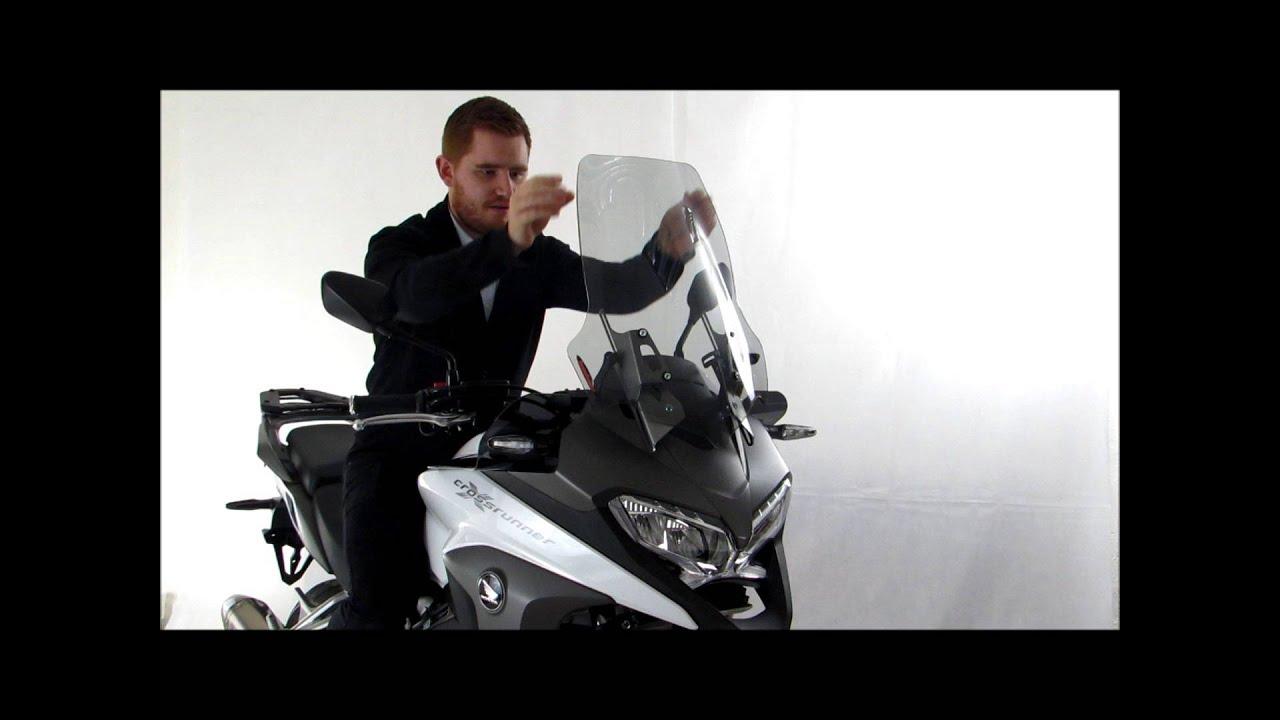 Powerbronze Honda VFR800X Crossrunner adjustable screen - YouTube