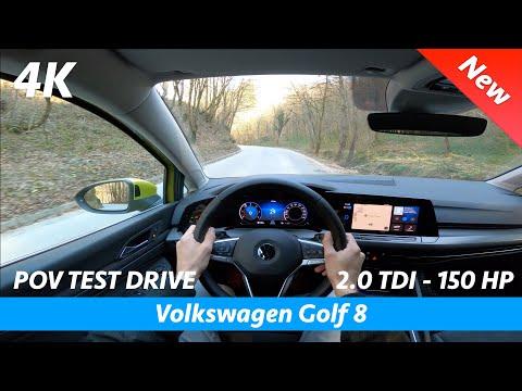 Volkswagen Golf 8 2020 - POV Test Drive In 4K   2.0 TDI - 150 HP, 0 - 100 Km/h