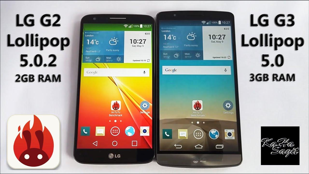 LG G2 Lollipop 5.0.2 vs LG G3 Lollipop 5.0 Antutu ...
