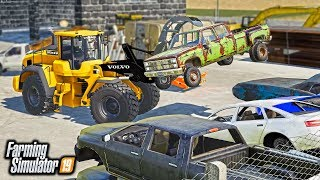 SCRAP YARD! PICKING UP DEAD CARS & TRUCKS FOR CUSTOMERS & SCRAPPING THEM | FARMING SIMULATOR 2019