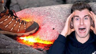 Guy Tries To Walk On Hot Lava