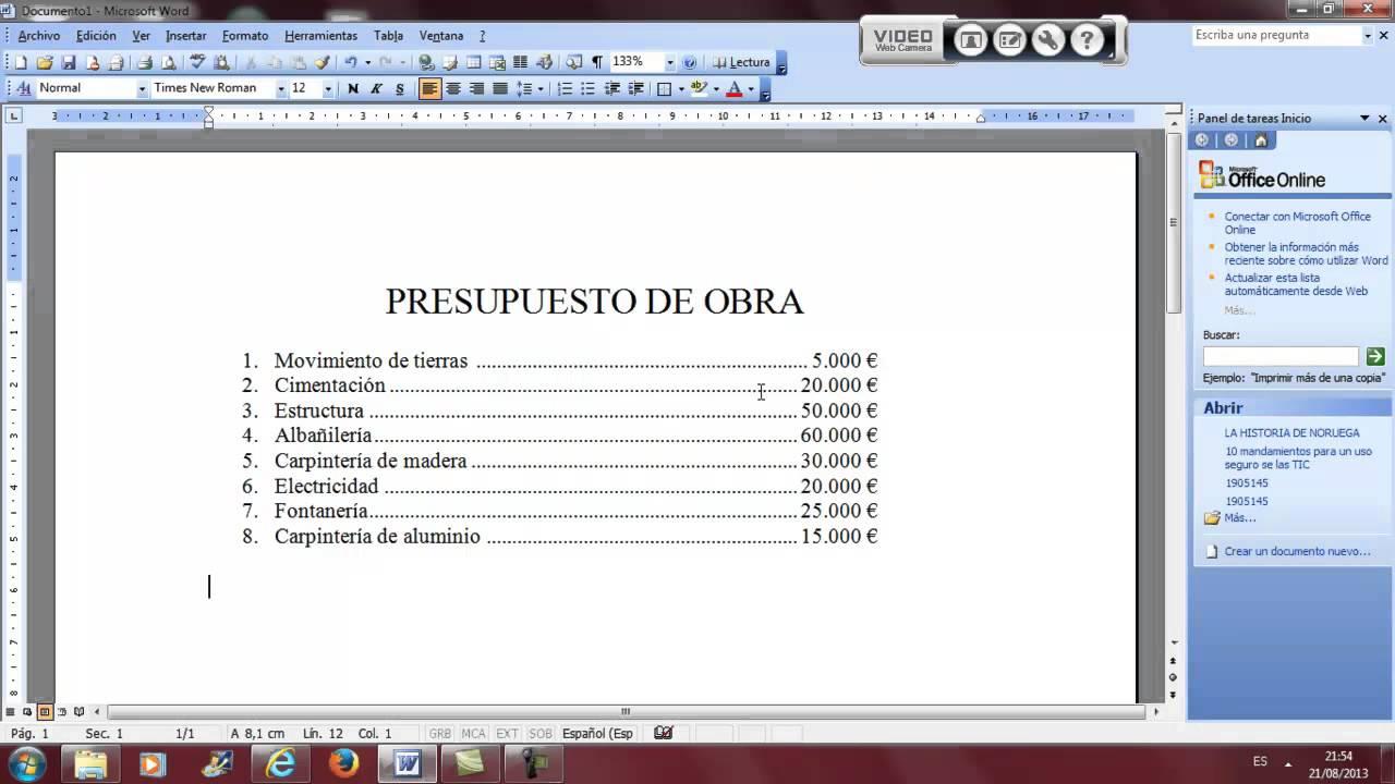 Tabulaciones presupuesto obra word ofimatica academia - Como hacer presupuesto de obra ...