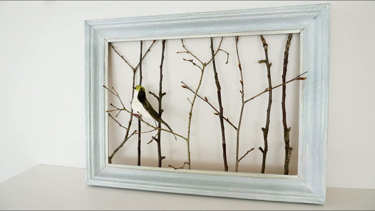 Glittery frame with twigs youtube glittery frame with twigs jeuxipadfo Choice Image