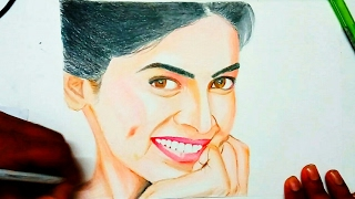 Drawing Deepika Padukone with pencil colours