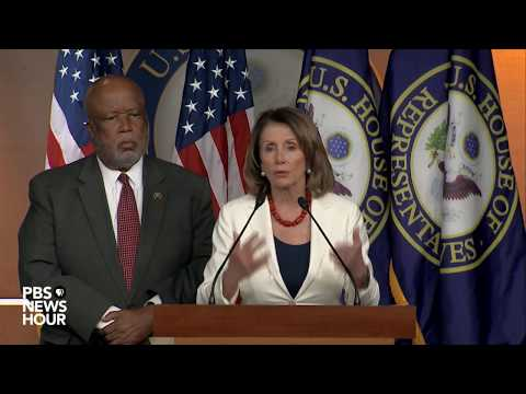 House Minority Leader Nancy Pelosi holds news briefing