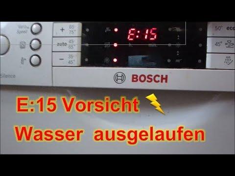 Code E15 bei der Spülmaschine, Waschmaschine. Wasser ausgelaufen. Elektrischer Schlag