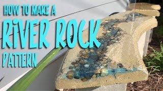 How to make a RIVER ROCK pattern in concrete with EPOXY / RESIN!