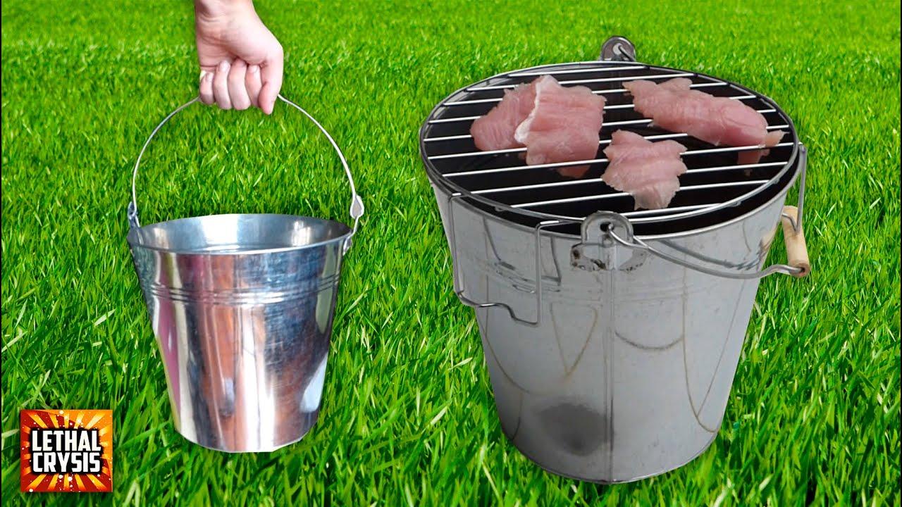 C mo hacer una barbacoa port til en un cubo bucket bbq - Como hacer un barbacoa ...