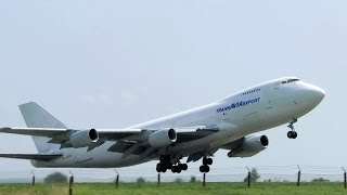 Intense ROAR! TransAvia Export - Boeing 747-200F takeoff Belgrade (BEG) airport