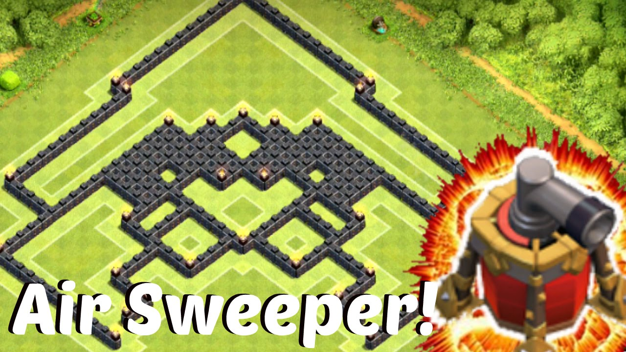 Clash of clans new air sweeper town hall 9 base war trophy speed