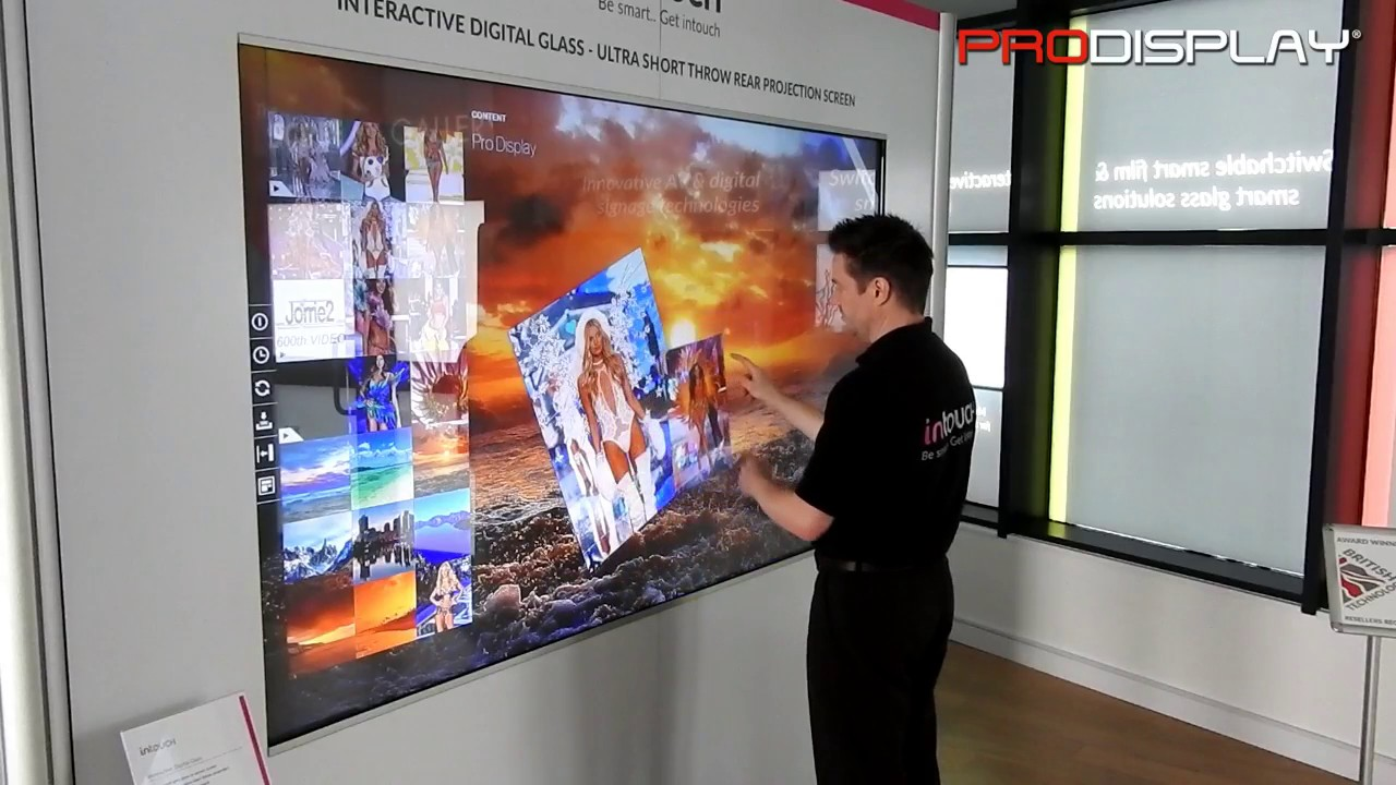 Display Glas Interactive Digital Glass Rear Projection Touch Screen
