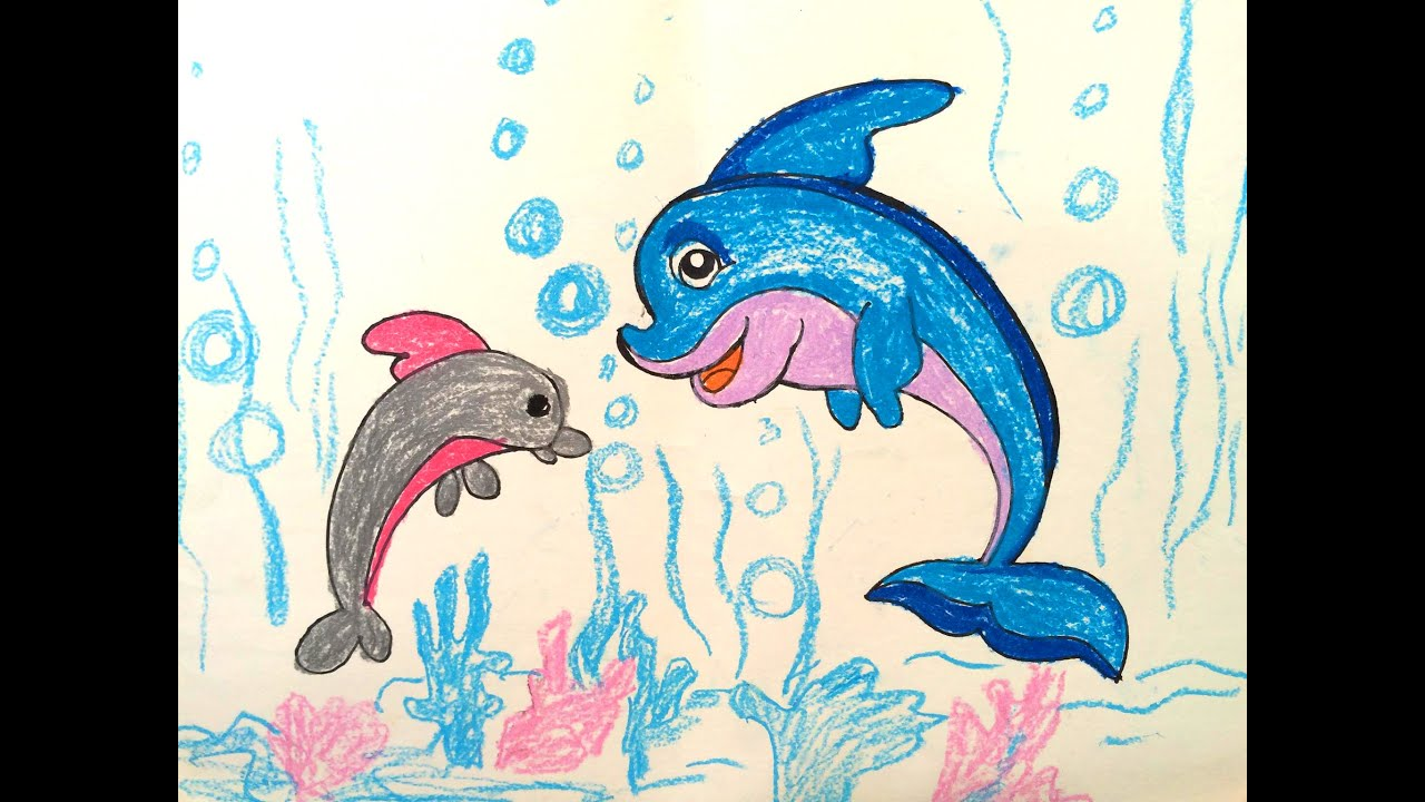 painting animals for kids how to draw dolphin for kids painting for kids art for kids - Animal Painting For Kids