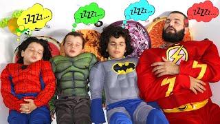 four superheroes want to sleep