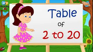 Table of 2 to 20 | Multipplication Table 2 to 20 | Elearning studio