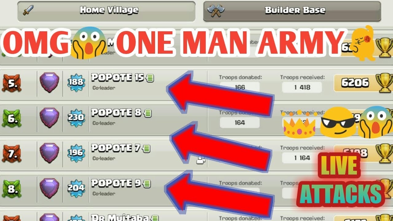 Popote Another One Man Army Clash Of Clans Youtube