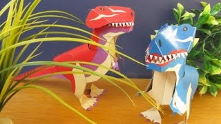 papercraft - moving papertoy - T-REX - tutorial - dutchpapergirl