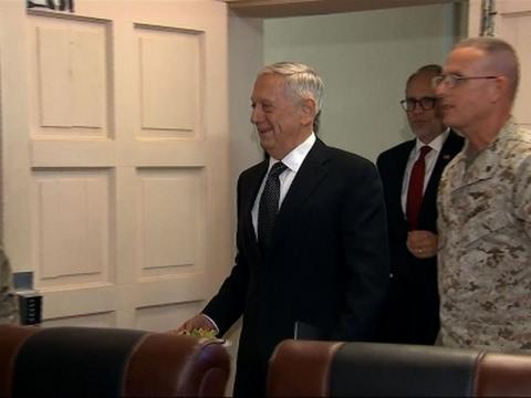 Raw: Mattis Makes Surprise Visit to Baghdad