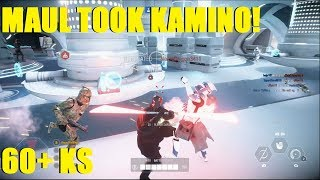 Star Wars Battlefront 2 - Darth Maul takes Kamino! 60+ Maul killstreak! (Obi wan and Maul) 2 games
