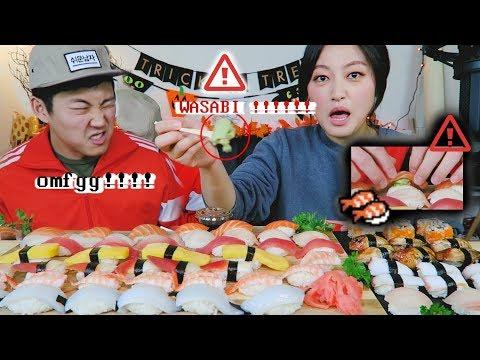 WASABI SUSHI ''Hit or Miss' CHALLENGE Mukbang!!! (초밥 복불복 먹방!)
