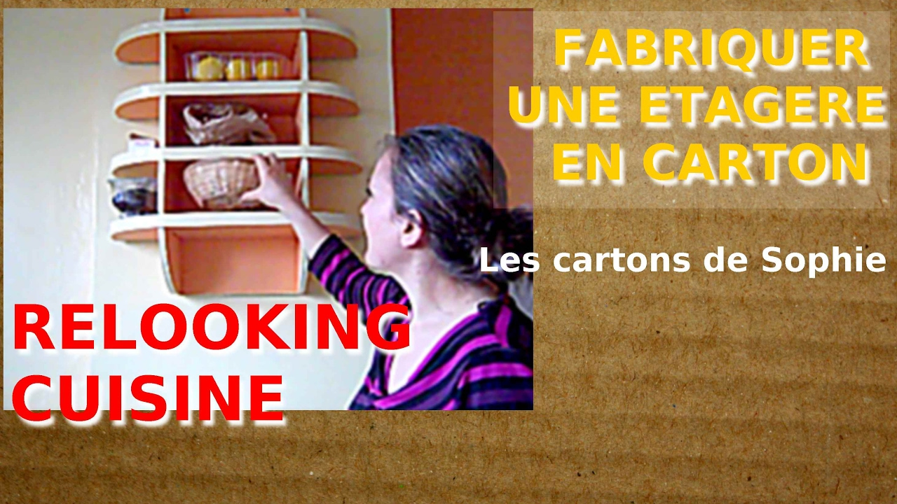les cartons de sophie comment cr er une tag re en carton solide et simple youtube. Black Bedroom Furniture Sets. Home Design Ideas