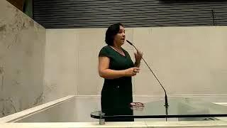 Deputada reeleita Márcia Lia fala na tribuna da Assembleia Legislativa do Estado de São Paulo