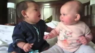 Смешные маленькие  дети общаются, играют