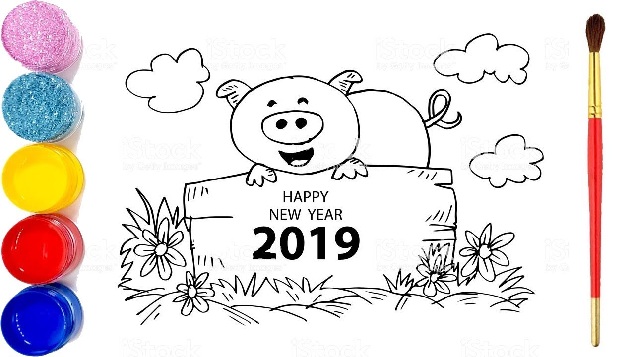 Happy New Year 2019 Coloring Pages Pig Coloring And Drawing For