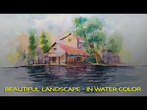 How to paint a simple landscape in watercolor | for beginners