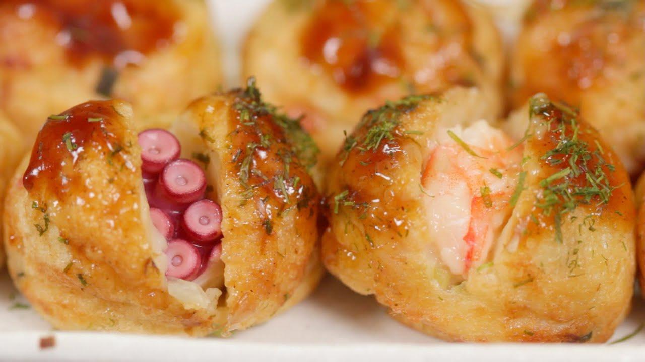 Takoyaki and Ebiyaki Recipe | Cooking with Dog - YouTube