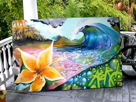 spray paint wave canvas aerosol arts caleb aero youtube. Black Bedroom Furniture Sets. Home Design Ideas