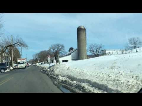 Driving in Reading, Lebanon & Ephrata, Pennsylvania after Snow Storm Stella