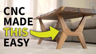 CNC Flat Pack, Live Edge, Mid Century Modern Coffee Table | Woodworking how to