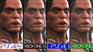 Conan Exiles 1.0 | PS4 vs PS4 Pro vs One vs One X | 4k Graphics Comparison