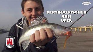 Vertikalfischen vom Ufer