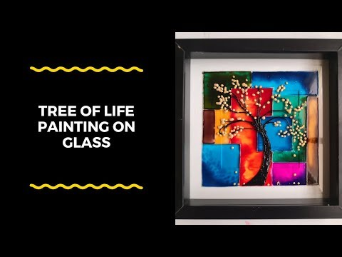 Beautiful glass painting technique to create a Tree of life wall decor |DIY glass art for beginners