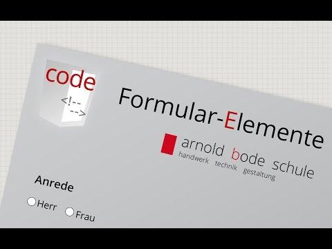 Eingabe Elemente in einem HTML Formular (Formulare 1)