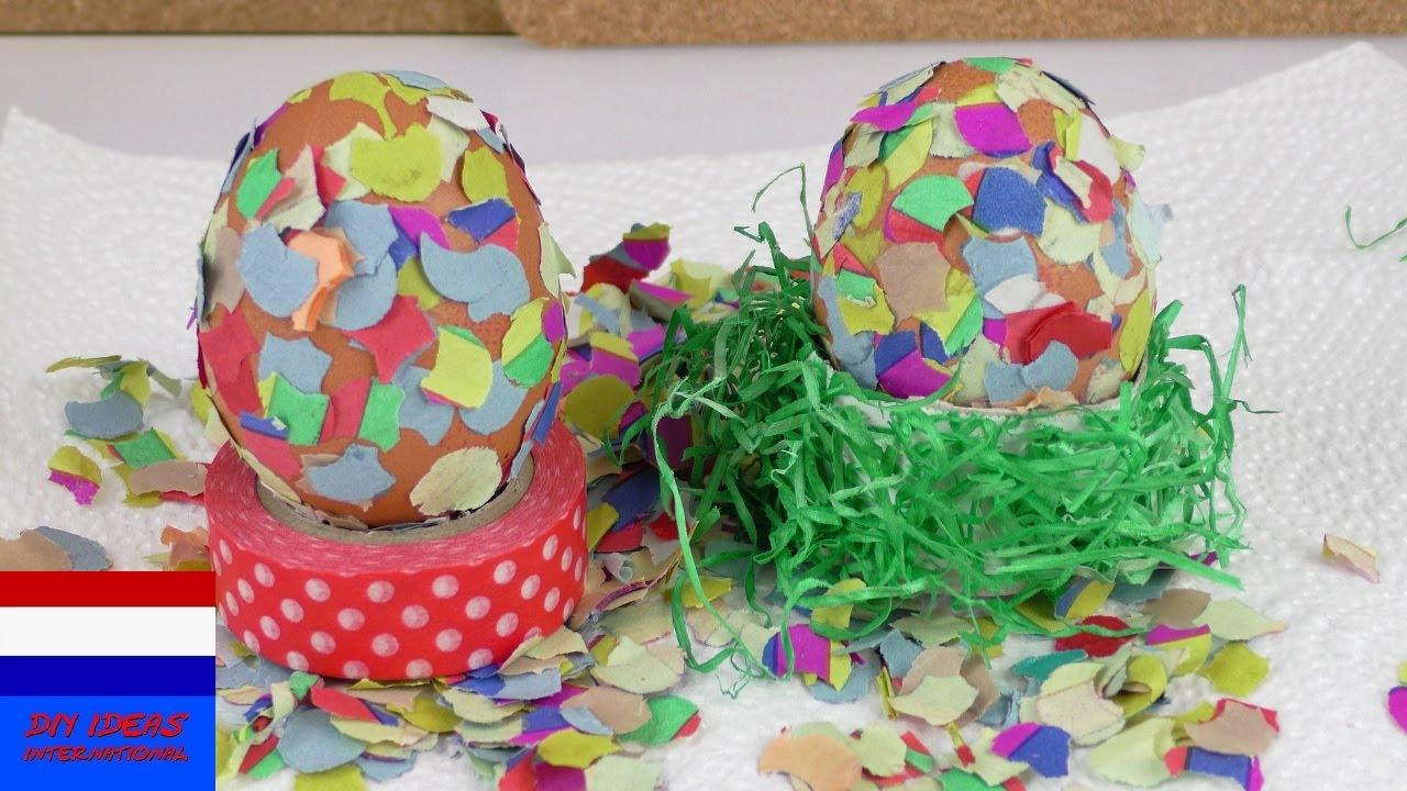 Paasei met confetti decoratie zelf paasdecoratie for Decoratie knutselen