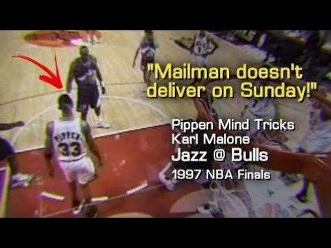 "Scottie Pippen Whispers Karl Malone's Ear: ""Mailman would not deliver on Sunday!"" (1997 NBA Finals"