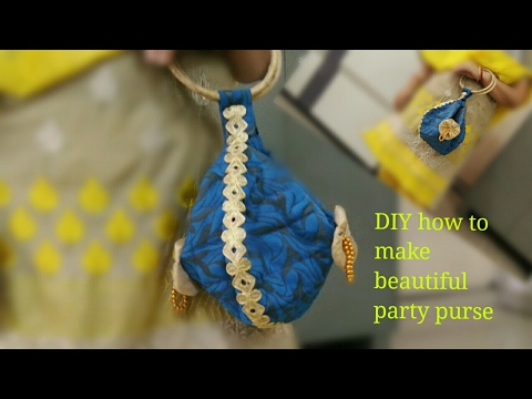 DIY how to sew beautiful party wear purse with leftover clothes best out of waste