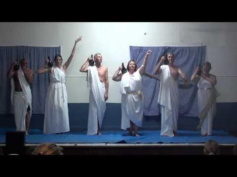 Greek gods and goddesses performing funny camp skit