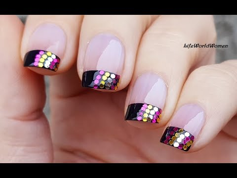 Black Party French Manicure With Glitter  New Years Eve Nail Art Idea