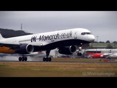 Monarch 757-200 Land at Edinburgh Airport, Operating for Thomson, EDI/EGPH, With ATC.