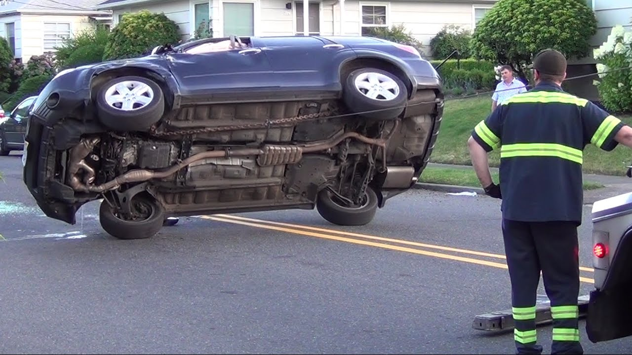 Subaru Portland Oregon >> Car Flipped Over, Tow Truck Flips Back Up - YouTube