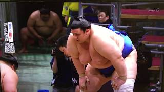 One of the highlight matches from Day 13 is here in the first half of action between basho leader, M13 Aoiyama (11-1), and M9 Takanosho (9-3). Enjoy! -Jason.