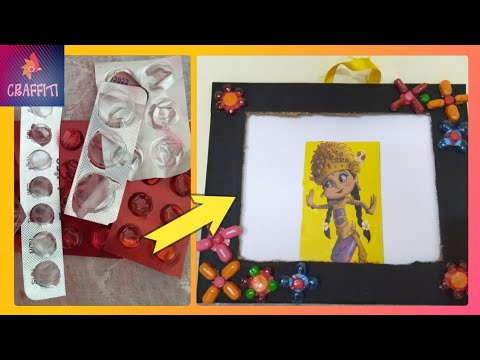 Best out of waste crafts idea of medicine wrapper||Easy Photoframe ideas
