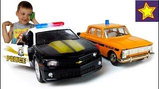 Полицейские машинки Шевроле Полиция разыскивает ретро Москвич ГАИ Kids toys video