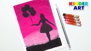 Как нарисовать девочку с воздушными шарами масляной пастелью поэтапно для начинающих