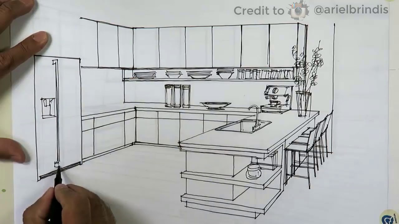 Kreatif Proses Pembuatan sketsa  dapur dengan  pensil
